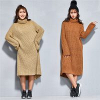 冬季新品韩版休闲百搭纯色高领针织宽松大码长袖长款连衣裙女