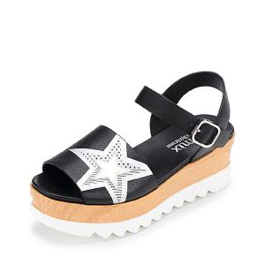 Teenmix/天美意2017夏牛皮变色星星图案帅气卡乐凉鞋女凉鞋6L708BL7