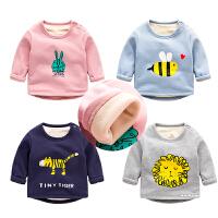 宝宝长袖t恤冬装 新生儿卫衣加绒男童圆领衣服 女婴儿打底衫冬季