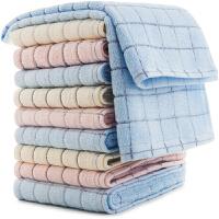 三利 纯棉素雅田格毛巾10条装 32×72cm 柔软吸水洗脸面巾