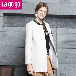Lagogo拉谷谷白色毛呢外套长袖韩版呢子大衣女中长款秋冬外套女