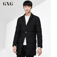 GXG男装 冬季男士修身时尚青年流行黑色长款羽绒服男#64111105