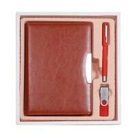 商务A5笔记本文具礼盒三件套(皮面记事本+16Gu盘+K47签字笔)可定制LOGO