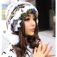 潮冬天七彩冬季毛线护耳帽子 甜美加厚保暖獭兔毛皮草女士帽子