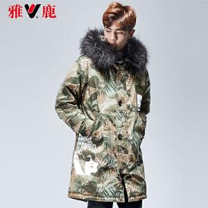 【一件三折 到手价:299.7】yaloo/雅鹿羽绒服男 中长款韩版冬季迷彩修身加厚毛领连帽外套
