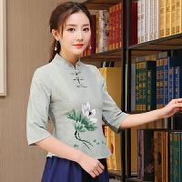 2018春装新款中国风七分袖立领中式棉麻手绘民族风上衣复古T恤女