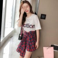 2018夏装新款女装潮夏天裙子夏季韩版小个子短裙两件套连衣裙套装
