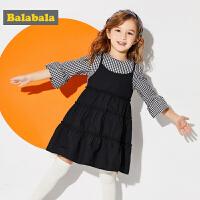 巴拉巴拉童装女童假两件裙子小童宝宝春秋2018新款儿童淑女连衣裙