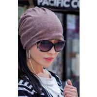 帽子两用围脖帽 女秋冬天潮月子帽纯色套头帽头巾帽 包头帽