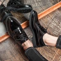 米乐猴 潮牌布洛克雕花男鞋子英伦风复古尖头小皮鞋韩版男士厚底内增高休闲鞋