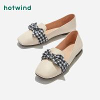 【4.4-4.6 1件3折】热风小清新格子女士休闲鞋蝴蝶结平底单鞋H02W9111