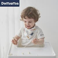 Domiamia婴儿宝宝口水巾夏季薄款纱布三角巾新生儿围嘴喂奶巾2条