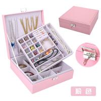首饰盒欧式木质饰品盒韩国公主耳钉盒耳环首饰收纳盒带锁珠宝盒大