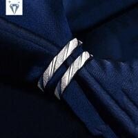925纯银戒指 女磨砂男斜纹情侣戒指简约日韩版对戒一对饰品刻字 9码 单个