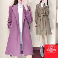 秋装新款女装韩版纯色中长款毛呢外套女秋冬季小个子呢子大衣外套