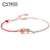 T400小猪本命年小红绳纯银手链女情侣生日礼物小众设计属猪猪饰品 3992
