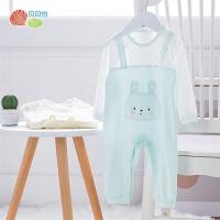 贝贝怡新生儿婴儿衣服男女宝宝纯棉连身衣保暖哈衣婴儿卡通爬服