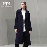 商场同款MM麦檬2016冬装新款翻领喇叭袖中长款羊毛大衣女毛呢外套