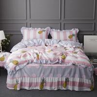 伊迪梦家纺 高密度全棉床裙款四件套 纯棉荷叶花边双人床被套4件套床罩式韩版床品BK91