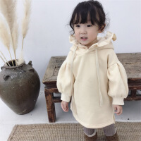 女童宝宝冬装加绒连帽卫衣儿童加厚韩版中长款宽松上衣百搭