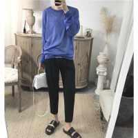 阿茶与阿古蓝色圆领夏季气质欧美款冰丝款韩风罩衫