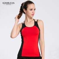 【限时狂欢价】Kombucha瑜伽背心2018新款女士显瘦透气交叉美背吊带式健身跑步运动背心含胸垫K0107