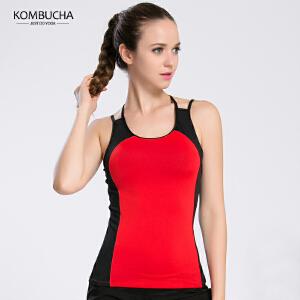 【限时特惠】KOMBUCHA瑜伽背心2018新款女士显瘦透气交叉美背吊带式健身跑步运动背心含胸垫K0107