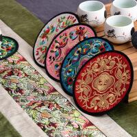 中国风刺绣布艺杯垫民间绣花工艺出国礼品礼物