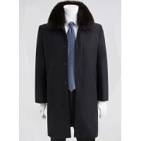 季中老年男羊毛呢大衣加绒加厚长款老人爸爸装毛领呢子风衣外套