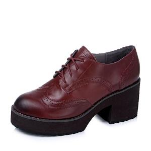 Teenmix/天美意专柜同款油蜡牛皮革女单鞋AK88DCM5