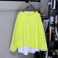 春季加肥加大码胖mm200斤宽松中长款拼色假两件打底衫T恤女长袖潮 加大码
