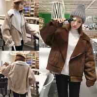 韩版加厚鹿皮绒外套大码200斤胖mm冬装学生加绒宽松显瘦保暖夹克