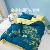 水星家纺 儿童全棉抗菌四件套纯棉亲肤床单被套居家床上用品 霸王的龙