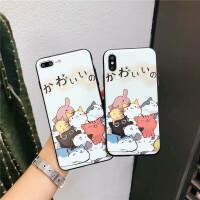苹果6手机壳iPhone7保护套6splus浮雕硬壳8p新款硅胶软全包边ix女可爱动物萌猫6p防摔防滑磨砂时尚卡通六七
