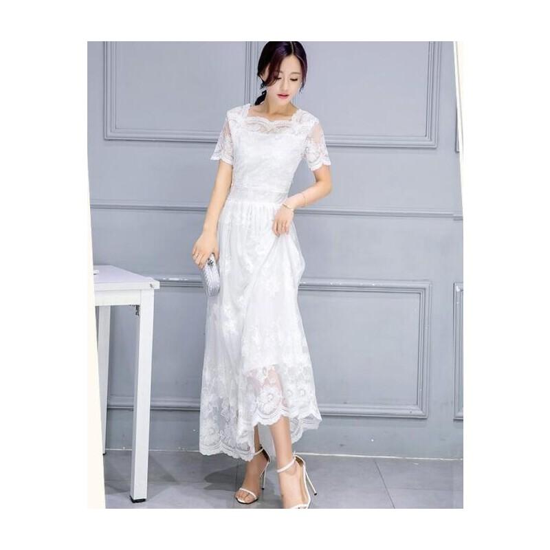 短袖连衣裙女夏装新款韩版时尚超长款沙滩长裙白色仙女蕾丝裙 发货周期:一般在付款后2-90天左右发货,具体发货时间请以与客服商的时间为准
