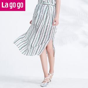 Lagogo2017夏季新款单排扣条纹开叉半身裙女中长款百搭显瘦裙子