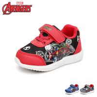 【99元任选2双】迪士尼Disney童鞋18新款儿童运动鞋漫威英雄联盟男童学生鞋网布透气炫彩灯鞋休闲鞋 (5-10岁可
