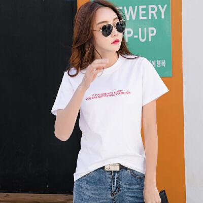 t恤女短袖韩范字母棉质打底衫女白色半袖体恤大码潮夏装上衣服