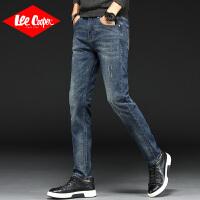 Lee Cooper春夏季潮牌破洞牛仔裤男士修身弹力小脚裤韩版青年直筒牛仔裤男