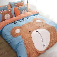 伊迪梦家纺 精品四件套卡通活性大版花4件套200*230cm被套1.5m1.8米床上用品套件QB101