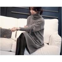 中长款韩版宽松慵懒羊绒针织衫加厚秋冬新款高领套头毛衣裙外套女