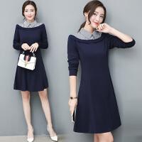 女装秋季连衣裙女长袖新款韩版时尚显瘦polo领条纹拼接A字裙