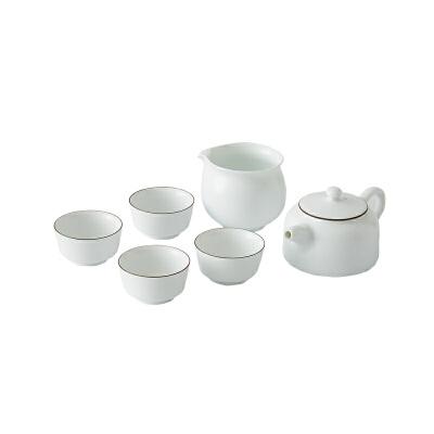 网易严选 羊脂玉白紫金线茶具套装 1壶4杯1公杯,雅致茶组