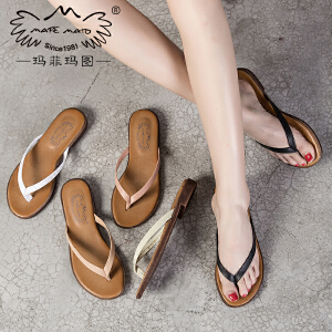 玛菲玛图 夹板拖鞋女夏时尚外穿2017新款复古室外手工人字拖小跟罗马凉鞋潮M19812611T9