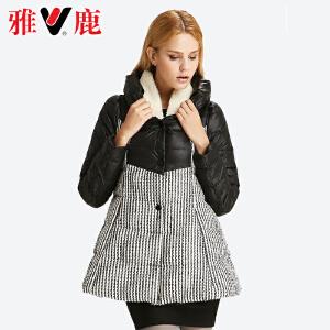 雅鹿女花苞领呢料相拼中长款羽绒服甜美 宽松保暖大码外套YP41580
