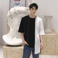 韩国ulzzang不规则黑白拼接T恤潮男圆领短袖宽松另类夜店发型师DJ