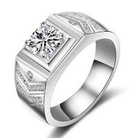 s925银镀白金戒指男士霸气指环仿真钻戒结婚求婚大男戒刻字礼物 活口钻戒(16号-24号)