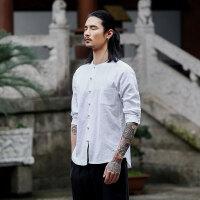 中国风男装棉麻七分袖衬衣宽松男士复古唐装亚麻料中式盘扣衬衫男