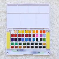 固体水彩颜料套装12 18 24 36 40色水粉画学生手绘便携透明水彩画笔套装分装初学者儿童美 单盒