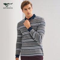 七匹狼长袖T恤 秋季新品 中青年男士时尚休闲百搭纯棉条纹长袖T恤